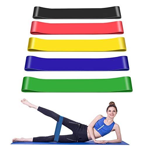 Bandas Elásticas Fitness/Bandas de Resistencia, Set de 5 Cintas Elásticas Fitness y Musculación de Látex Natural Agradable a la Piel