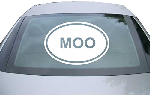 INDIGOS UG - Aufkleber Heckscheibe & Motorklappe DE2357 - weiß - 600x400 mm - MOO Sticker Cow Farm Animal Love Funny Car Vinyl - Auto Scheiben Fenster Heckklappe Tuning Racing JDM - Die Cut