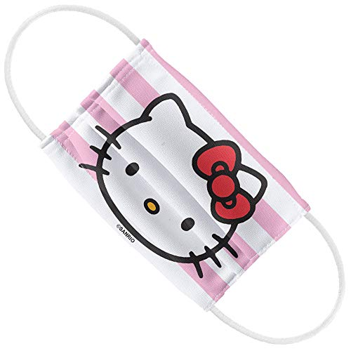 Hello Kitty Face and Stripes 1-Ply Reusable Face Mask Covering, Kids
