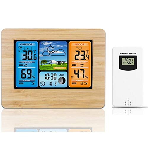 NEUE Wetterstation Funk mit Außensensor, Holz Weather Station Wireless mit Farbdisplay, Thermometer innen/ausen, Digitaler Wecker, Feuchtigkeitsmonitor, Barometer für Indoor Outdoor Zuhause Büro