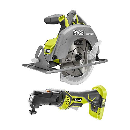 RYOBI P1930N 18-Volt ONE+ Cordless Combo Kit with Brushless 7-1/4 in. Circular Saw, JobPlus Base w/Multi-Tool Attachment (Tools Only)