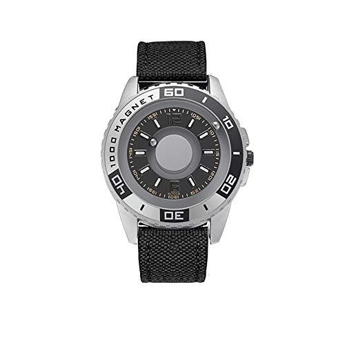 Reloj hombre Deportes, bola magnética bola del reloj de cuarzo redonda con correa de acero inoxidable, regalo del reloj de pulsera impermeable Hombres Mujeres, relojes pareja ocasional simples,I
