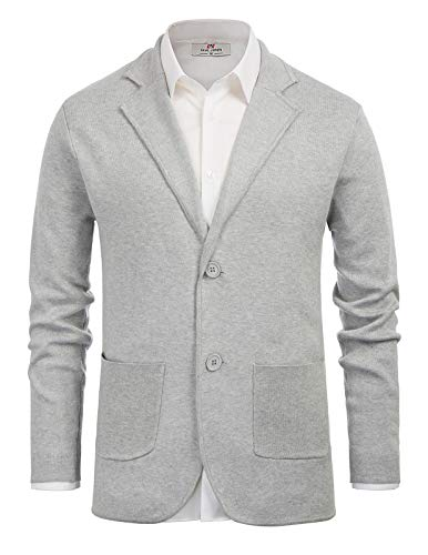 PJ PAUL JONES Mens Cardigan Sweaters with Buttons Knitted Sport Coats 2 Pockets Grey S