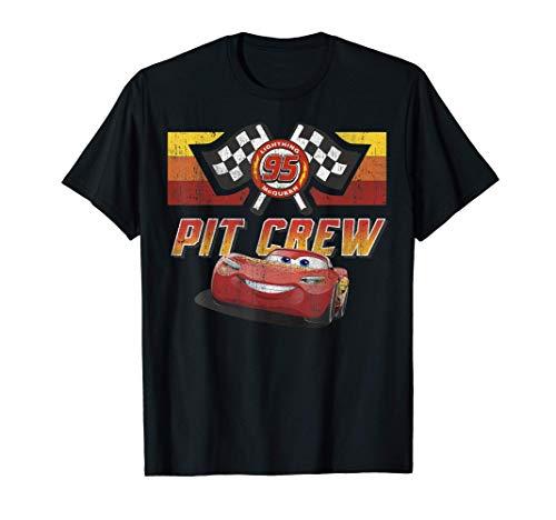 Disney Pixar Cars McQueen Pit Crew Red Distressed T-Shirt T-Shirt