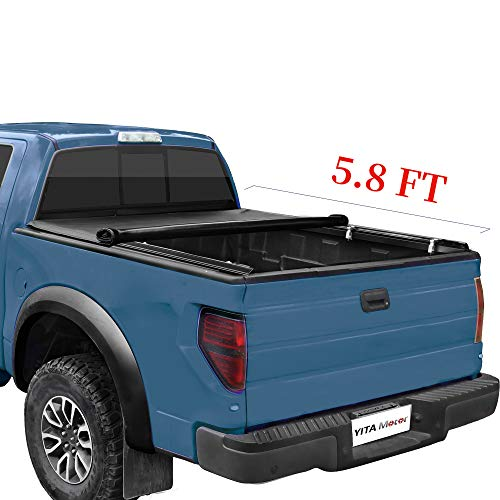 YITAMOTOR Soft Roll Up Truck Bed Tonneau Cover 5.8 ft Compatible with Chevy Silverado/GMC Sierra 1500 2014-2018 | 2019 Legacy/Limited, Fleetside Pickup Cargo Bed, Waterproof