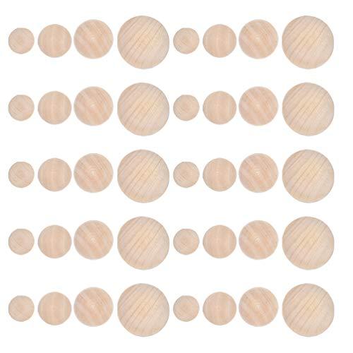 MILISTEN 40 Piezas de Bolas de Madera para Artesanías Divididas de Madera Mini Semiartesanías Bolas sin Terminar 40Mm 20Mm 25Mm 30Mm para Proyectos de Arte DIY para Niños Tallar