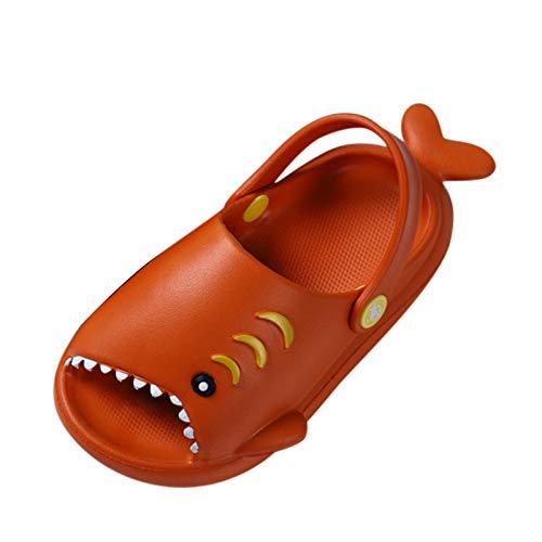 Padaleks Unisex-Child Kids' House Slippers Cute Cartoon Beach Shoes Shower Sandal for Toddler Little Girls Boys Orange