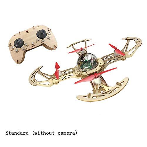 MYRCLMY Fai da Te Interesse Formazione Drone A Distanza Aerei Controllo Insegnamento Speciale di Legno Gli Studenti Auto-Assemblaggio dei Velivoli Model Aircraft 360 ° di Rotazione Volo,Natural