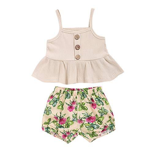 0-5 años de edad, conjunto de ropa para niñas de verano, sin mangas, con estampado floral falda, trajes de...