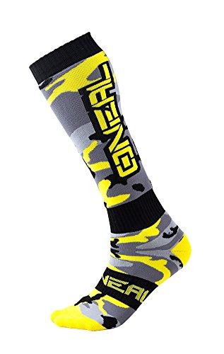 O'NEAL | Mountainbike Motocross Socken | MTB Downhill Freeride | Schweißabsorbierend, Verstärkter Fersen & Sohlenbereich | Pro MX Damen Hunter | Unisex | Erwachsene | Grau Schwarz Gelb | One Size