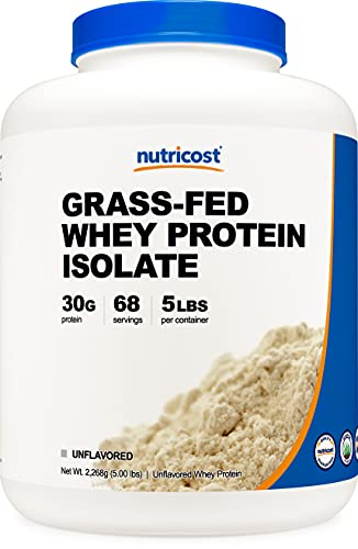 Nutricost Grass-Fed Whey Protein Isolate (Unflavored) 5LBS - rBGH Free, Non-GMO & Gluten Free