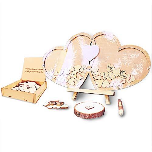 Neamon - Libro degli ospiti per matrimonio, compleanno, festa, decorazione, segno battesimo con penna definita dei cuori in legno