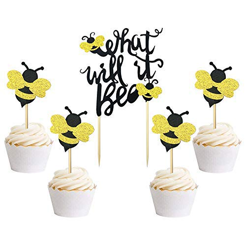 25 PCS What Will It Bee Cake Topper Bumble Bee Baby Shower Cake Topper Gender Reveal Party Decorations