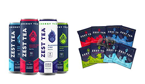 Zest Tea Plant-Based Energy Variety Pack –– Mix hot teas and iced teas, High Caffeine Blend of Natural, Non-GMO & Healthy Coffee Substitute, Perfect for Keto, 8 bags of hot tea and 4 x 12 oz cans of energy iced teas
