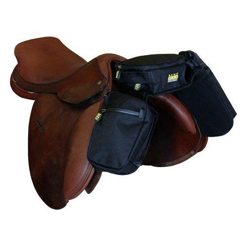 TrailMax Kompakte Englische Satteltasche mit Pommel-Tasche und Wasserflaschenhülle für Trail Riding, funktioniert mit englischen, Endurance-& australischen Satteln, schwarz