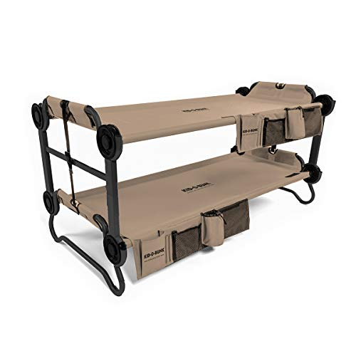 Disc-O-Bed Youth Kid-O-Bunk 2 Person Bench Bunked Double Camping Bunk Bed Cot with 2 Side...