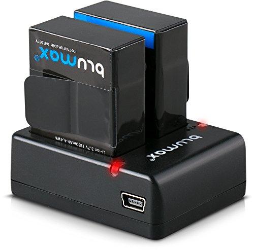 Blumax 2X Akku kompatibel mit GoPro Hero 3+ AHDBT-301 1180mAh + Mini Dual-Ladegerät kompatibel mit GoPro Hero 3+ Dual Charger für 2 Akkus gleichzeitig Laden