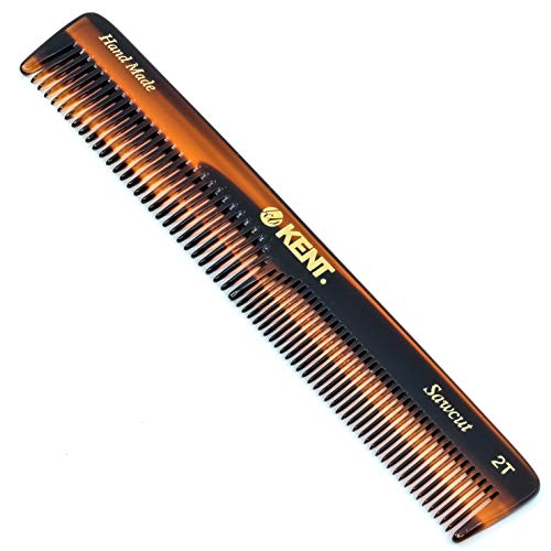 "Kent 2T Hand-Made, Saw-Cut, Coarse or Fine Toothed General Grooming and Pocket Comb (6"" / 153mm)"