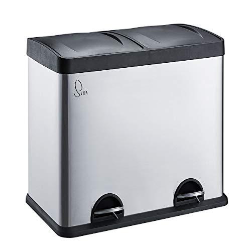 SVITA T2X24 Edelstahl Mülleimer 48 Liter Silber 2 x 24L Treteimer Abfalleimer Mülltrennung mit Schubfächern