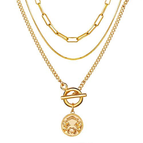Focisa Collar Colgante Cadena Collares Hombre Mujer Collar Bohemio Collares De Oro para Mujer Multicapa Moda Colgantes De Perlas Collar Retrato Gargantillas Joyería Regalo Cs51
