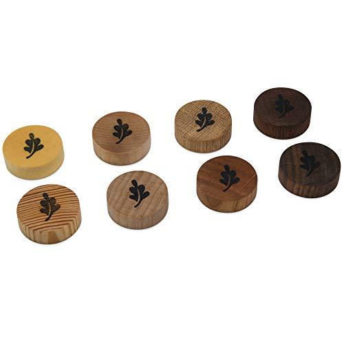 Holz Magnete, 8 verschiedene Holzsorten für Kühlschrank, Magnettafel, Whiteboard