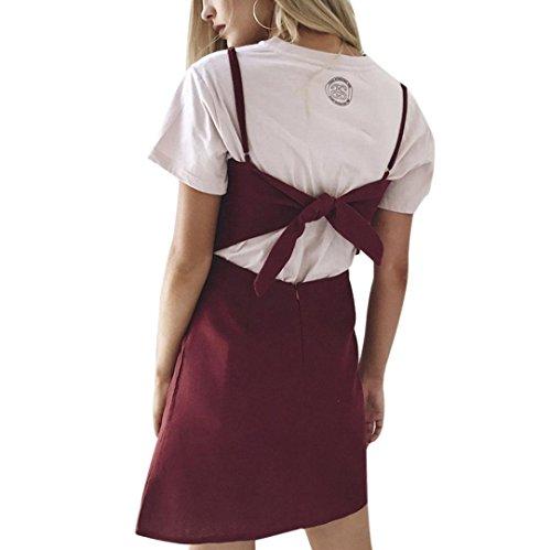 ★ Femme Robe, Xinan Été Sexy Femmes Robe Robe Strappy Sans Manches Dos Nu Bow Robe Moulante Mini robe Robe de Dames de Mode (L, Vin rouge)