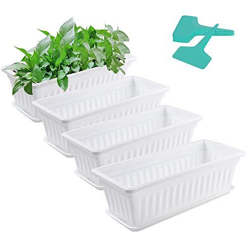 YRW 4Er Pack Pflanzgef??E mit Tabletts mit 20 Pflanzenetiketten, Rechteckigem Fensterrahmen Aus Kunststoff, GemüSepflanzbeh?Lter-Set