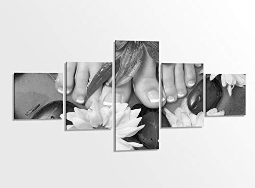 Leinwandbild 5 tlg. 200cmx100cm schwarz weiß Wellness Pedikuere Massage Kat5 Fuss Spa Bilder Druck auf Leinwand Bild Kunstdruck mehrteilig Holz fertig gerahmt 9AB272