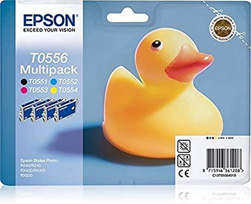 Epson Multipack T0556 4 colores - Cartucho de tinta para impresoras (Negro, Cian, Magenta, Amarillo, Epson Stylus Photo R240/RX420/RX520, Inyección de tinta, 352 mm, 182 mm, 180 mm)