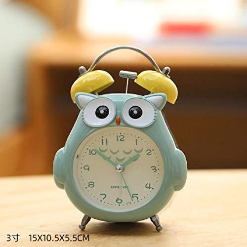FPRW 3 inch grote ringtoon schattige wekker, Cartoon Uwl snooze Luminous Minimalist Silent Bedside wekker, groen