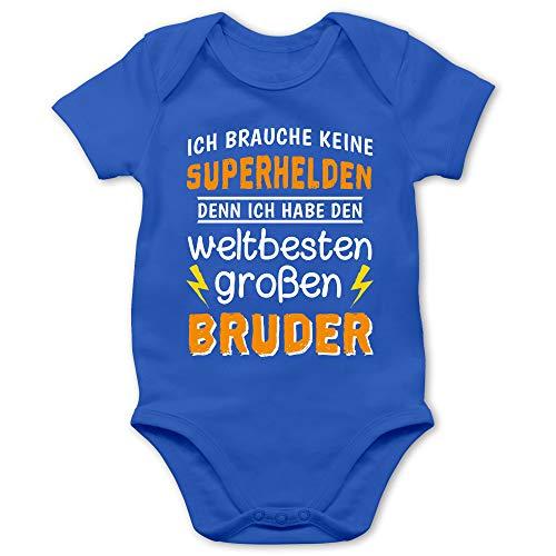 Shirtracer Geschwisterliebe Baby - Ich Habe den weltbesten großen Bruder - 12/18 Monate - Royalblau - Bruder superheld Strampler - BZ10 - Baby Body Kurzarm für Jungen und Mädchen