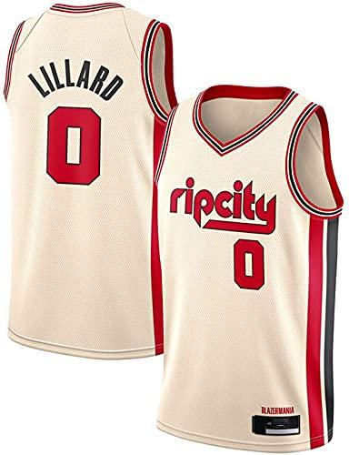 ZMIN Jersey Men's Portland Trail Blazers # 0 Lillard Retro Bordado Malla Baloncesto Ropa de Entrenamiento, Unisex Sin Mangas Tshirt Chaleco,A,XXL 185~190cm