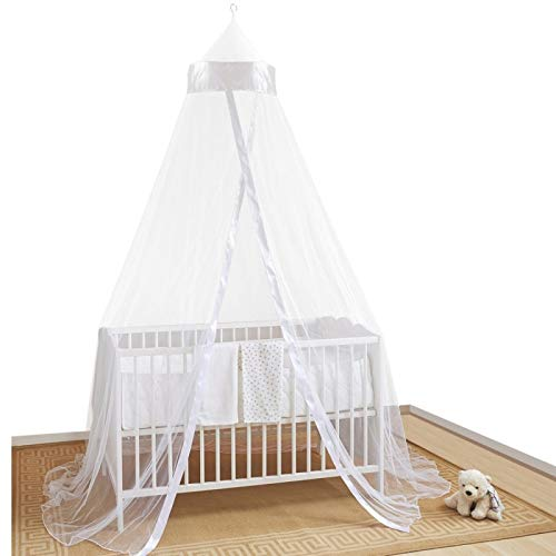 Home and More Store Ltd Mosquito Nets 4 U - Bianco Baby baldacchino/zanzariera per Lettino