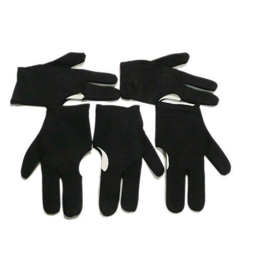 Dcolor 5 x Guantes de 3 Dedos para Taco Billar Snooker, Negro