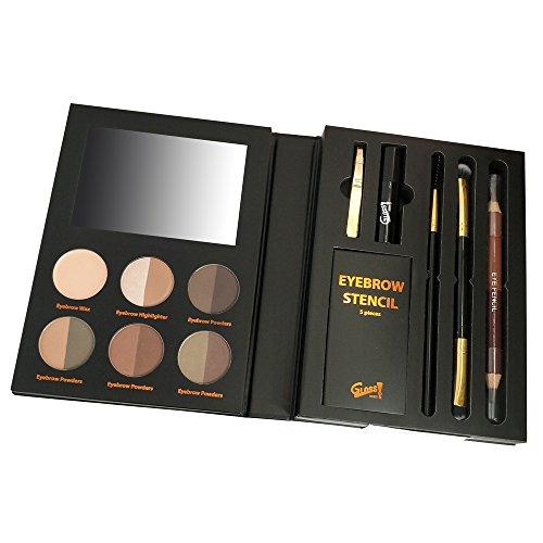 GLoss - Palette de maquillage - Fard à paupières smoky et Sourcils avec 1 boîte de pochoirs à sourcils, une base pour paupières et un miroir