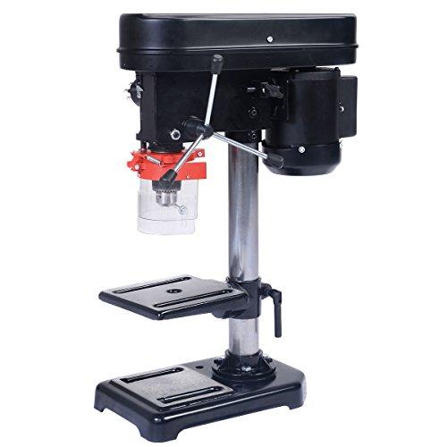 COSTWAY Säulenbohrmaschine Standbohrmaschine Tischbohrmaschine stufenlose Tischhöhenverstellung 350W Bohrtiefe 50mm
