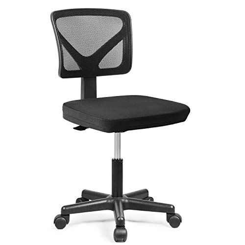 Rimiking Mesh Low-Back Ergonomic Swivel Chair Computer Chair Task Chair Desk Chair Armless Home Office Chair, Adjustable Height, Black