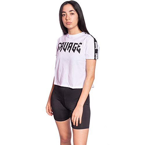 SAVAGE - TIM CARTER Camisetas Cortas & Tops (Blanco-Franja, M)