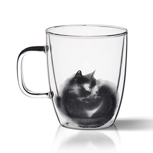 NYKK Juegos de Tazas Grandes Taza de café de Vidrio de Doble Pared, Taza de té, Taza de Leche, Vidrio for los Amantes de los Gatos Ideas Actuales y Regalos, 12.5 oz Taza de café Tazas de Té de