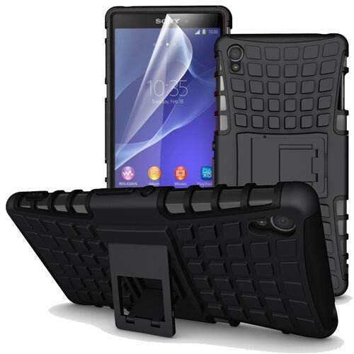 betterfon   Outdoor Handy Tasche Hybrid Hülle Schutz Hülle Panzer TPU Silikon Hard Cover Bumper für Sony Xperia Z3 Schwarz