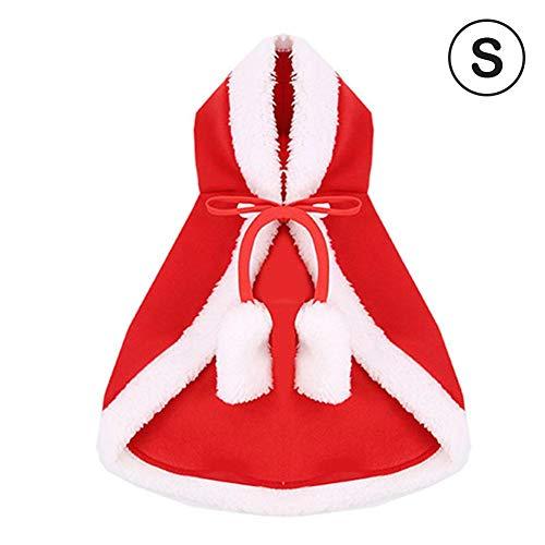 Evenlyao Pet Weihnachten Umhang Kostüm, Polar Fleece, Katzen-Weihnachts Rotkäppchen-Umhang tragender Hut