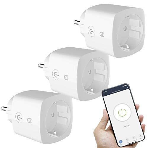 FlinQ 3er-Pack WLAN Steckdose | Smart Steckdose Wifi | 16A Smart Plug Kompatibel mit Alexa und Google Assistant | App für Android und iOS | Wifi Steckdose Mit Timer und Countdown Funktion
