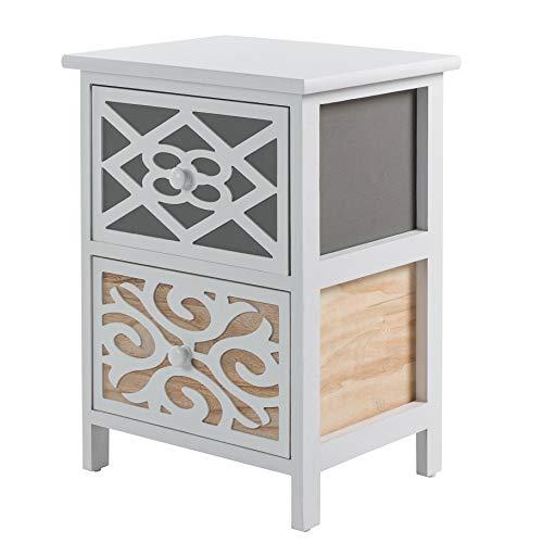 ADGO Gabi - Cassapanca in stile shabby chic e 2 cassetti, 36 x 28 x 48 cm, elegante e spazioso armadio si adatta alla cabina del bagno