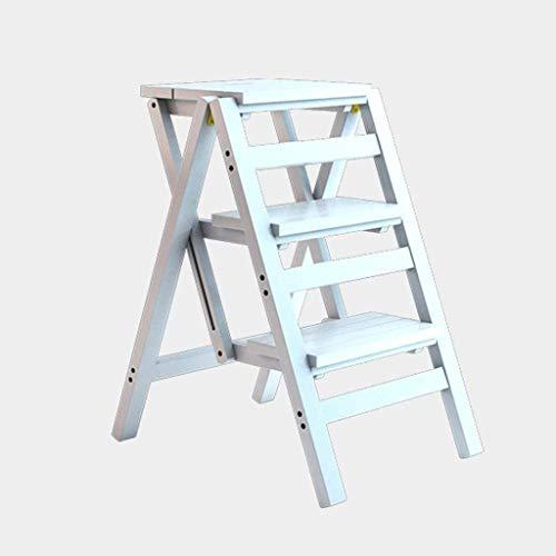 GDFEH Scaletta pieghevole in legno Scaletta Home Space Dual-Uniopful Scaletta per lampadari Dual-Uso Ladder a quattro fasi Ladder ascendente Ladder, 42 × 55 × 68 cm Facile da conservare, scaffalature