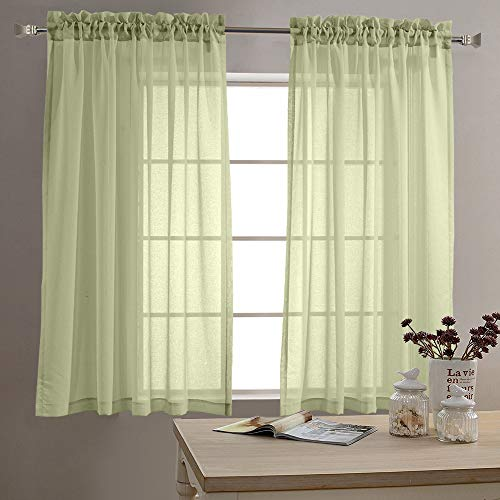 jinchan Sheer Curtains for Living Room 63 inch Length Window Curtains for Bedroom Sheers Rod Pocket Voile Curtain Set 1 Pair Sage