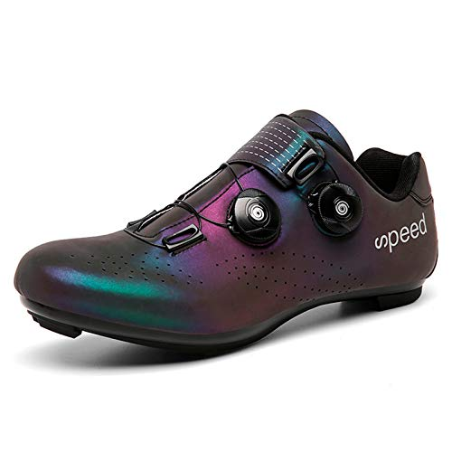 Gogodoing Zapatilla de Ciclismo Profesional Hombre Zapatos de Ciclismo de Antideslizantes SPD Lock System para Bicicleta de montaña/Carretera con Estilo de Encaje rápido Giratorio