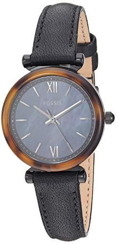 Fossil ES4650 Reloj Fossil Dama, Correa Piel Negro, Caratula Multicolor, Analogo for Accesorios, Negro, Mujer Estándar