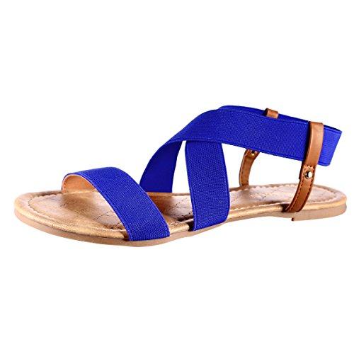 MUDAN Elastic Slingback Flit Flops Sandal (8 B (M) US, Blue)