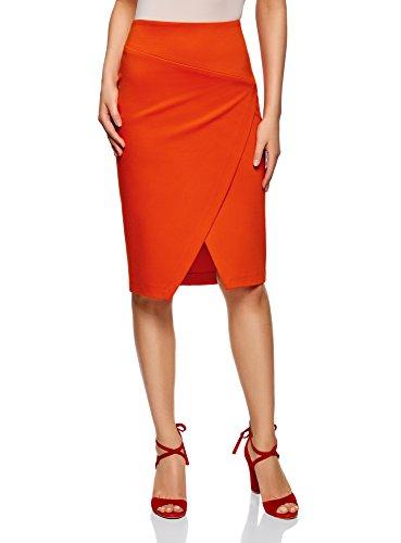 oodji Ultra Mujer Falda de Punto con Abertura Diagonal, Rojo, ES 34 / XXS