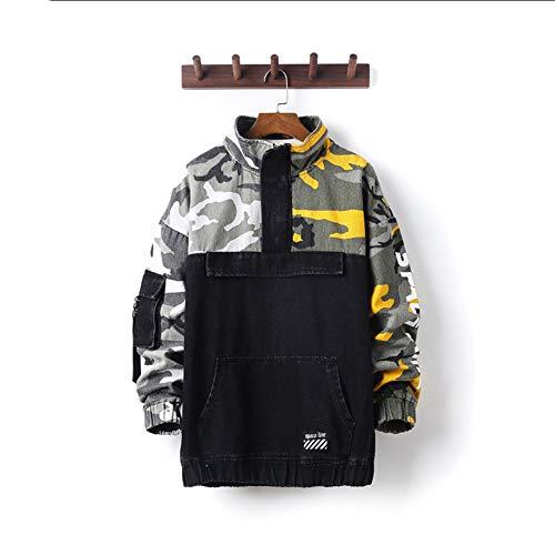 SCYTF Männer Camouflage Jeansjacke, lose Retro Distressed Mantel-beiläufige Button Down Jacket Jeans, Motorradjacke,XXXXL